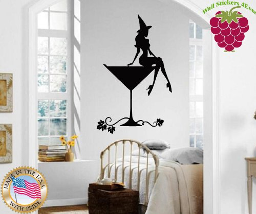 Wall Stickers Vinyl Decal Wall Stickers Vinyl Decal Hot Sexy Girl Halloween Witch Martini Glass ig721 (Spa Martini)
