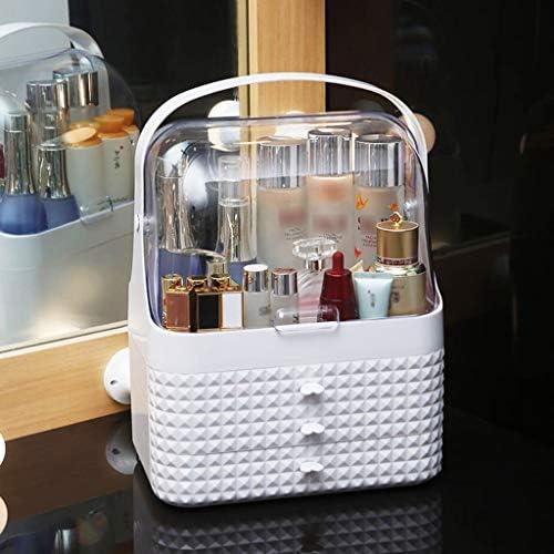 化粧品収納ボックス 家庭用化粧品収納ボックス多層大容量ラックカバー付きダスト収納ボックス引き出しプラスチック素材ダイヤモンドカット面ハート型ハンドルホワイト QTKGG