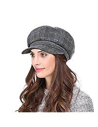 LOKIDVE Women's Newsboy Cap Retro Gatsby Beret Cabbie Visor Hat for Ladies