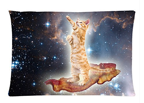 Bedding Pillow Cover Top Design Funny Cute Cat In Galaxy Space Universe Best Gift To Lover Comfortable Rectangle Pillowcase 20x30 Inch