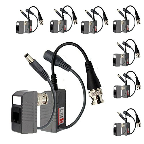 BNC to RJ45 CAT5 Cable Video + Power Balun Connector for CCTV Camera 8 Pairs