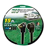 Prime RV5063815 RV Power Cord, 15 ft. 50 Amp Plug and 50 Amp Connector