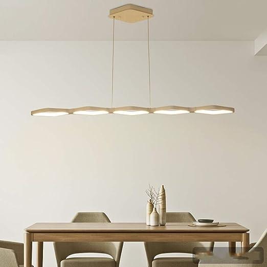 Lámpara colgante alargada de 50W LED Mesa de comedor Luz colgante Moderno Diseño geométrico Altura ajustable Aluminio blanco Illuminazione per Sospensione de acrílico Oficina (115 * 18cm, 3000K): Amazon.es: Iluminación