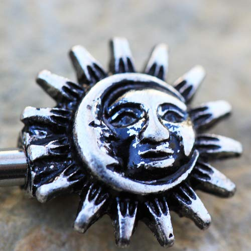 F12-020 Cocobul Pair of 316L Stainless Steel Vintage Sun and Moon Nipple Bar