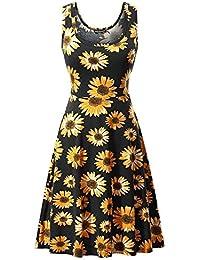 Women's Sleeveless Scoop Neck Summer Beach Midi A Line Tank Dress