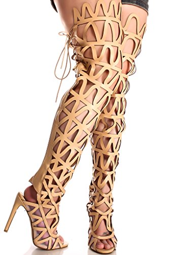 CAPE ROBBIN FAUX LEATHER BACK ZIPPER LACES PEEP TOE OVER THE KNEE HIGH HEEL BOOTS 9 nude