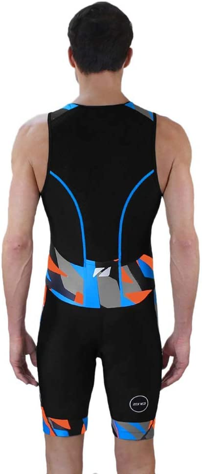Zone3 Mens Activate Plus Trisuit Midnight Camo-Black//Orange//Blue M