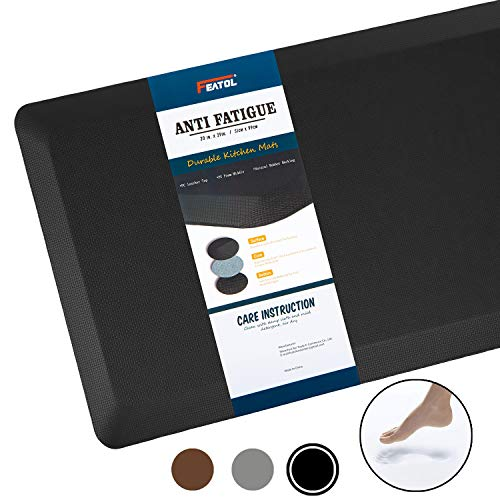 Anti Fatigue Mat Kitchen Mats Cushioned,Thicken Core Foam 20x32x9/10-Inch,Perfect for Kitchens,Standing Desks and Garages,Phthalate Free,Relieves Foot,Knee,and Back Pain(Black,20