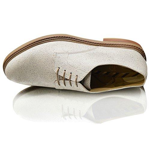 Base London - Zapatos Planos con Cordones hombre White Grain