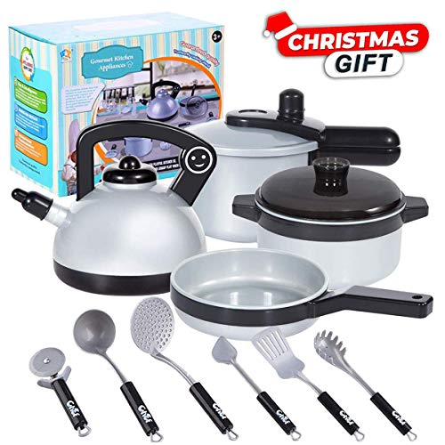 - JIXUN Pretend Play Kitchen Set for Kids,10 Piece Kids Cookware Playset Development Educational Toy Include Pots,Pans and Utensilsfor KidsEarly Age 2,3,4,5 Years Old