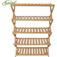 Saim Multifunctional Folding Household Bamboo Rack, Entryway Shoe Shelf Storage Organizer(5-Tier)