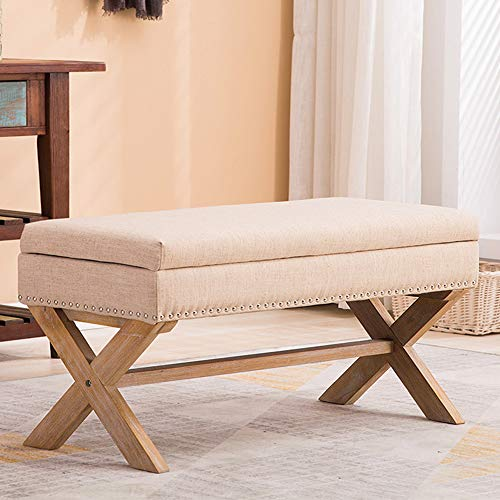 Upholstered Storage Benches, Fabric Bedroom Bench Ottoman with Nailhead and X-Shaped Legs for Patio/Bedroom/Living Room/Dining Room/Hallway (Buckwheat)
