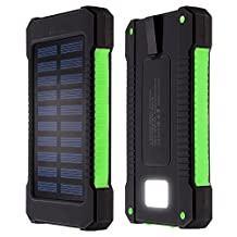 DealMux Solar Charger,10000mAh Portable Dual USB Solar Battery Charger External Battery Pack Phone Charger Power Bank with 6LED Flashlight for iPhone iPad Samsun HTC Cellphones and More