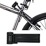 FLYDEER Universal Folding Bike Lock Steel Portable Chain Lock Heavy Duty 6 Joints Bicycle Lock Anti-Theft Bike Password Lock with Storage Mounting