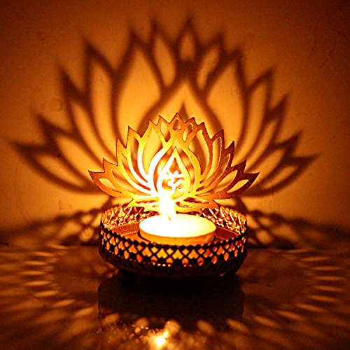 Hashcart Traditional Tea Light Candle Holder/Metal Candle Light Holder Set/Designer Votive Candle Holder Stand/Table Decorative Candle Holders, Lotus Shadow Tea Light for Home Living Room & Office