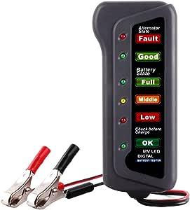 12V Digital Battery Alternator Tester Car Car Battery Tester Vehicle Diagnostic Tool Motorcycle LED Lights Display Battery Tester