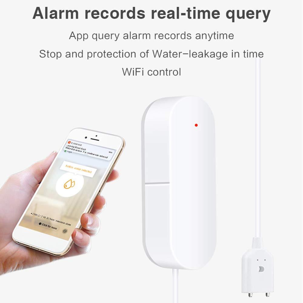 OWSOO WiFi Water Leakage Detector Water Leak Sensor Wireless Water Level Detector Water Leak Alarm Sensor Home Waterproof Smart Remote Notification
