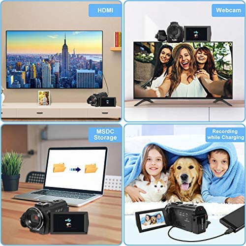 Video Camera Camcorder with Microphone, VideoSky 42MP HD 1080P 30FPS Digital Recording Camcorders for YouTube 64 GB Memory Card Vlogging IR Night Webcam Time-Lapse Slow Motion,Touch Screen, Lens Hood 512KduXzaIL