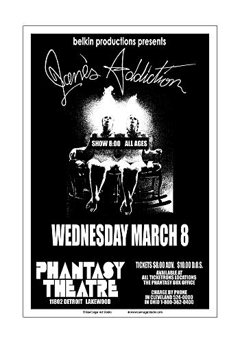 Raw Sugar Art Studio Janes Addiction 1989 Cleveland Concert Poster