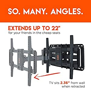 "ECHOGEAR Full Motion Articulating TV Wall Mount Bracket for 42""-80"" TVs - Easy To Install On 16"" or 24"" Studs & Features Smooth Articulation, Swivel, & Tilt - EGLF2"