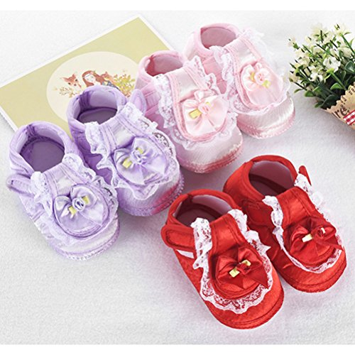 Zhhlinyuan First Walking Shoes Bebé Girls Bowknot Decoration Anti-slip Sole Soft Shoes Purple