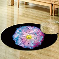 Print Area rug single blue and pink colored flower isolated on black background flower shine Perfect for any Room, Floor Carpet -Round 63