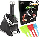 Yonanas Elite Frozen Healthy Dessert Maker - 100% Fruit Soft-Serve Maker, Spatula Set & Yonanas Recipe Book (Black) Bundle