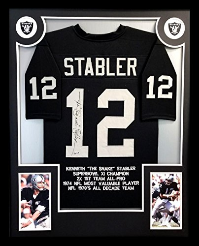 1d66096670c d Raiders Custom Framed Black Stat Jersey hand signed by Ken Stabler. The  item and