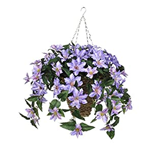 House of Silk Flowers Artificial Purple Clematis in Square Hanging Basket 106