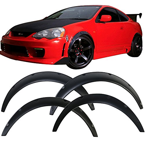 (4 pcs Fender Flares fits Universal | V2 Matte Black Polyurethane PU Front Flares 2 Pieces 50mm Front & 2 Pieces 70mm Rear by IKON MOTORSPORTS)