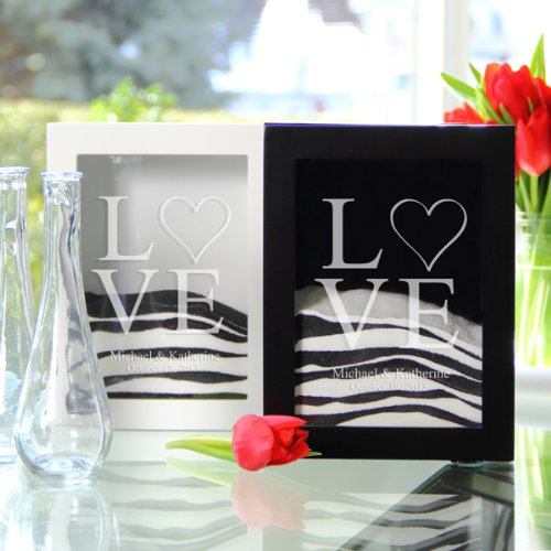 Cathy's Concept ''Two Hearts'' Sand Ceremony Shadow Box Set Black