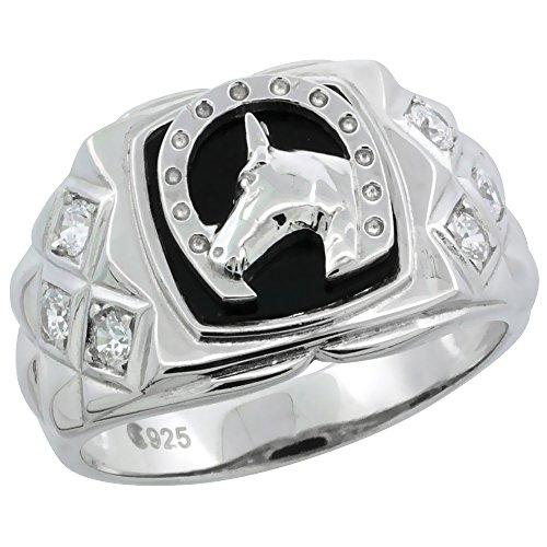 - Mens Sterling Silver Black Onyx Horseshoe Ring CZ Stones & Side Facets, 1/2 inch wide, size 9