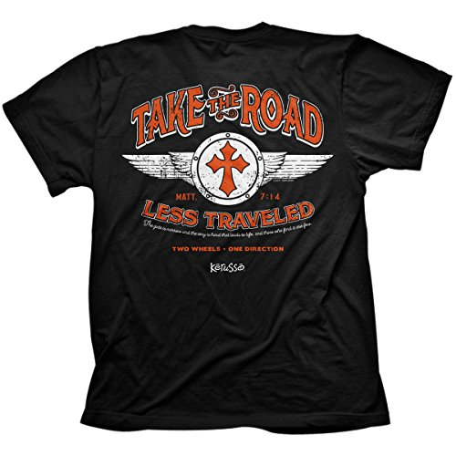 Christian Motorcycle T-shirts - Kerusso Road Less Traveled, Tee, LG, Black - Christian Fashion Gifts