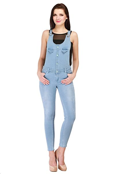 4270cdf0397 Lequary Women's Skinny Fit Designer Ankle Length Ripped Flap Denim Jeans  Dungaree - Light Blue - 28: Amazon.in: Clothing & Accessories