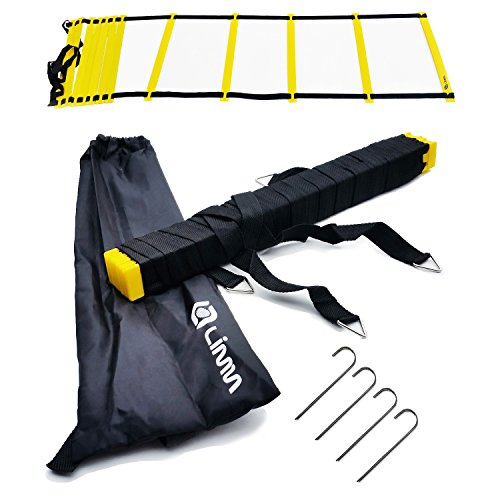 Limm Agility Ladder with BONUS Carry Bag, Hooks & Online Videos – Extra Wide Rungs, Flat Rung, Durable, Multi-Sport Training Tool – For High Intensity Footwork, Speed and Agility Training (12 Rung) (Ladder Step Training)