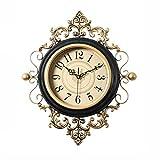JYY Reloj De Pared Silencioso,Reloj De Salón Decorativo Sin Tictac Dormitorio Cocina,con Pilas,Estilo Retro De Lujo,2 Colores,2 Tamaños (Color : Black, Size : 48x53cm)