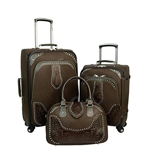 Montana West Tooled Leather Collection 3 PC Luggage Set -Coffee (Tooled Leather Luggage)