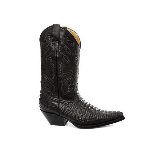 Stivali Texani a Punta da Uomo in Vera Pelle Effetto Coccodrilo Stile Cowboy   Amazon.it  Scarpe e borse 1d405ede24bc