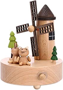Ta-weo Rotating Wooden Musical Box Wind Up Music Box Gift Farm Style Windmill and Cat for Christmas/Birthday/Valentine's Day, Melody Castle in The Sky