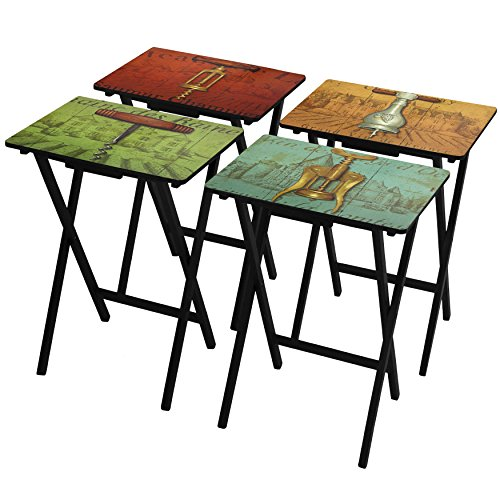 Oriental Furniture Vineyards of France TV Tray Set with Stand by ORIENTAL FURNITURE