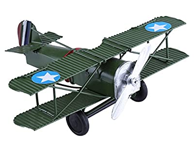 Berry President(TM Vintage Retro Wrought Metal Iron Biplane Plane Aircraft Handicraft Models - Photo Props home Decor/ornament/souvenir (Green)