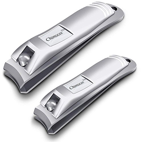 CHIMOCEE Nail Clipper Set, 2PCS Sharpest Fingernail and Toenail Clippers for Men & Women, Stainless Steel Nail Clippers with Metal Case for Thick Nails