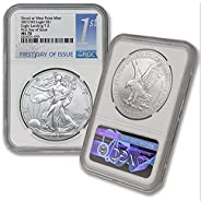 2021 (W) 1 oz Silver American Eagle MS-70 (Struck at West Point Mint - First Day of issue - Eagle Landing T-2)