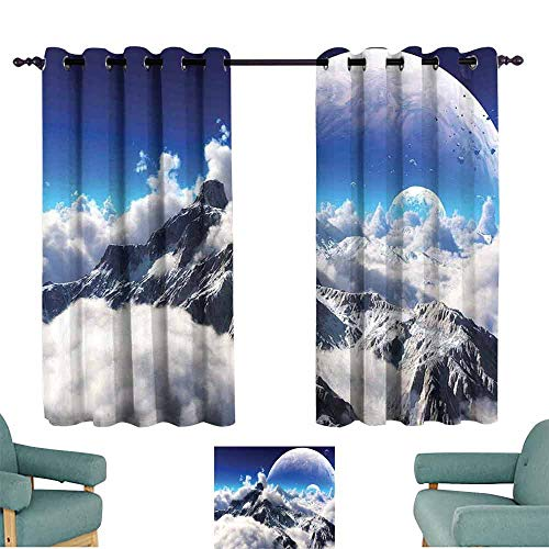 HCCJLCKS Room Darkening Wide Curtains Bedroom Decor Celestial View of Snow Capped Mountains and A Transparent Alien Planet Tie Up Window Drapes Living Room W55 xL39 White - Screen Celestial Fireplace