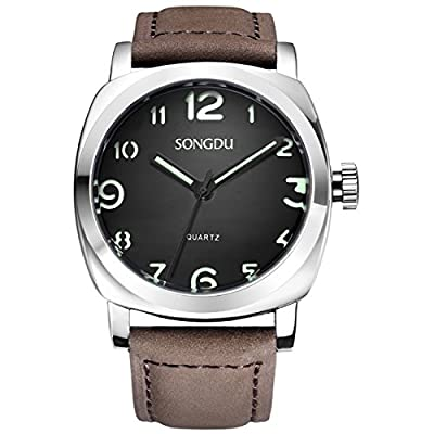SONGDU Men's Stylish Design Quartz Watch Green Numeral Black Dial (Silver and Brown)