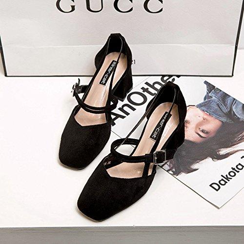 cuadrado negro 34 satinado único de negrita de mujer hueco zapatos con Zapata tacón 8gpR4aBW