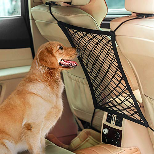 AUTOWN Car Dog Barrier, Auto Seat Net Organizer, Universal Stretchy Car Seat Storage Mesh & Mesh Cargo Net Hook Pouch Holder, Disturbing Stopper from Children and Pets as Car Backseat Barrier Net (Pet Cargo Net Barrier)
