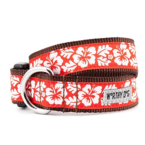 The Worthy Dog 21958-4199SM Aloha Coral Hawaiian Flower Pattern Adjustable Designer Pet Dog Collar Designer Hawaiian Dog Collar