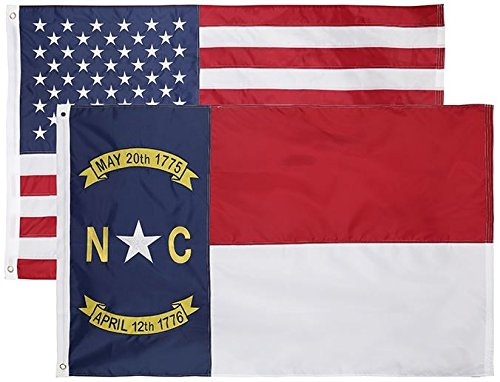 2 Pack - Nylon Sate & American Flag 3x5 FT Combo Pack - Embroidered Oxford 210D Nylon - Durable & Long Lasting - 4 Stich Hemming. Vivid & Fade Resistant. Cascade Point (North Carolina + USA (2 Pack)) - North Carolina Outdoor State Flag