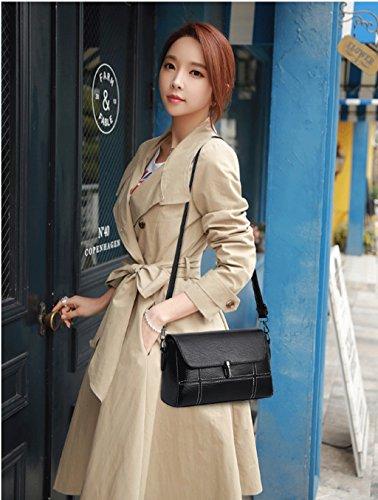 semplice Colore di coreana Rosso tracolla Messenger borsa Borsa Nero borsa DGF morbida a a Joker pelle in moda tracolla wFq7anfE